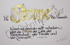 """Liebe Schriftbegeisterte,   Monika kalligrafierte den Spruch von """"I. ERATH""""     auf eine Karte.     Bis bald   Die Schriftkünstler"""
