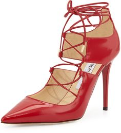 Jimmy Choo Hoops Lace-Up Leather Pump, Red
