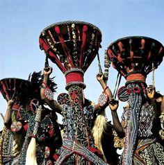 Africa | Bamileke masked dancers, Western Cameroon | ©George Holton