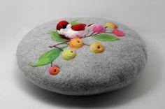 Boina de lana con aguja aves y frutas, patrón del sombrero de fieltro de aguja, boina romántica
