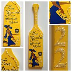 The best paddle I have ever seen! Sorority Paddles, Sorority And Fraternity, Sorority Life, Zeta Phi Beta, Delta Sigma Theta, Greek Crafts, Divine Nine, Alpha Phi Alpha, Royal Blue And Gold