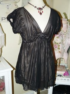 MAX EDITION Heavenly Sheer MIDNIGHT BLACK MESH Romantic Rosette Babydoll TOP XL #MAXEDITION #Tunic