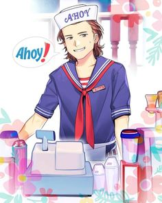"""AHOY!!!..."". STRANGER THINGS SEASON 3 FAN ARTWORK An amazing drawing made by artist Lufti Herdiansyah @lysergic44 based on the first teaser trailer of TV series Stranger Things season 3 and here we can see one of its main characters Steve Harrington (played by Joe Keery) working at ""Scoops Ahoy"" ice cream parlor at Starcourt Mall Hawkins (Indiana). A beautiful illustration. #joekeery #milliebobbybrown #drawing #calebmclaughlin #gatenmatarazzo #noahschnapp #finnwolfhard #sadiesink…"