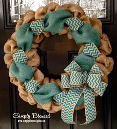 Teal Chevron Burlap Wreath 22 inch front door or accent - outdoor / indoor by SimplyBlessedGift on Etsy https://www.etsy.com/listing/179416330/teal-chevron-burlap-wreath-22-inch-front
