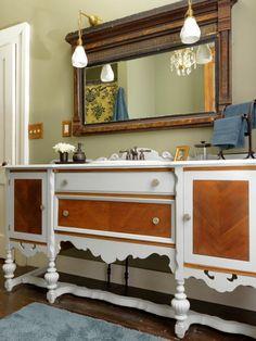 Upcycled Furniture Ideas : antique sideboard converted to bathroom vanity. Furniture Vanity, Bathroom Furniture, Furniture Makeover, Diy Furniture, Bathroom Interior, Furniture Projects, Furniture Buyers, Design Bathroom, Bathroom Layout