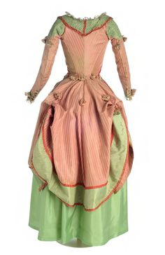 Polonaise about 1775-1785 in striped silk in salmon colour and decorations based on knitting applied to green silk taffeta