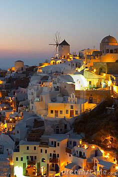 Awesome light! Windmill at sunset Oia Santorini #Greece