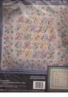 "Bucilla Counted Needlepoint Antique Alphabet 14""X14"" Picture Pillow 4689 NIP #Bucilla"