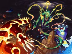Groudon, Kyogre, and Rayquaza