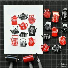 Meet Andrea Lauren, a lino print artist. Stamp Printing, Printing On Fabric, Screen Printing, Lino Print Artists, Eraser Stamp, Andrea Lauren, Buch Design, Stamp Carving, Handmade Stamps