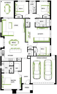 Fairview 24 floorplan - Carlisle Homes I'd turn the lounge into an extra bedroom lol New House Plans, Modern House Plans, House Floor Plans, Home Design Floor Plans, Plan Design, Carlisle Homes, House Blueprints, Shipping Container Homes, New Home Designs