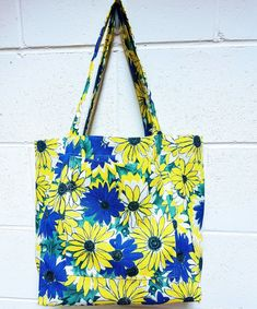 Reusable Market Bag Blue & Yellow Daisy Market Bag, Carry On Bag, Blue Bags, Blue Yellow, Daisy, Reusable Tote Bags, Clutches, Hand Luggage, Carry On Luggage
