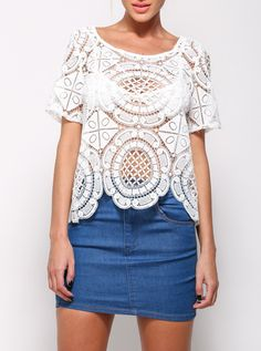 White Short Sleeve Hollow Lace Blouse 14.99