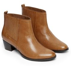 Warehouse Western Style Chelsea Boot (96 CHF) ❤ liked on Polyvore featuring shoes, boots, ankle booties, chelsea boots, chelsea bootie, square cowboy boots, western ankle booties and cowboy booties