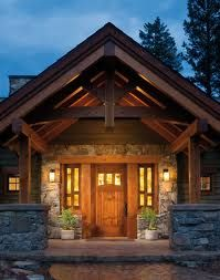 See more about what makes a timber frame home so special. Explore our photo & video galleries to experience the grandeur of our custom houses and find inspiration for your dream house. House With Porch, House Front, Front Porch, Front Entry, Entry Doors, Cabin Homes, Log Homes, Architecture Résidentielle, Craftsman Style Homes