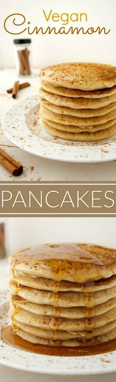 ♥ Vegan Ideas ♥ Vegan cinnamon pancakes are the perfect weekend breakfast! They're warm, light, fluffy and taste similar to a cinnamon roll. Add some chocolate chips to the batter for a chocolatey twist. They're easy to make and require only 9 simple ingredients!