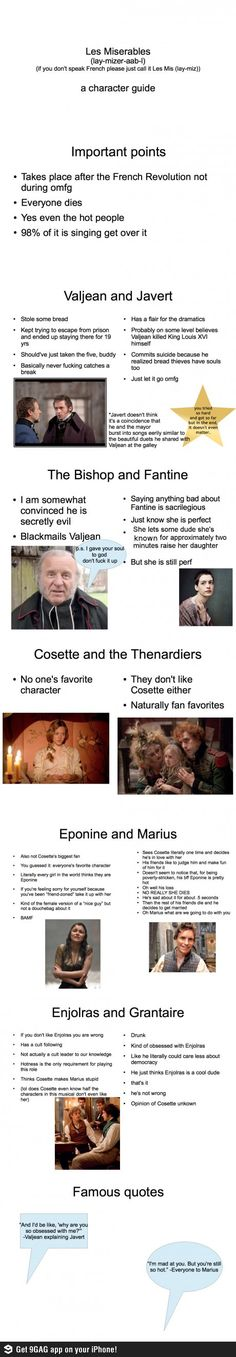 Different if you were basing it on the book (because Marius and Cosette are in fact the WORST people in literature), but still fairly accurate