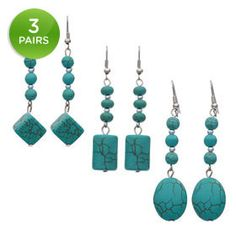 3-Pack: Trendy Geometric Turquoise Dangle Earrings  --Love turquoise...great price!!