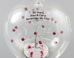 Makes a great gift for any anniversary. To create your anniversary ornament please select your choice of silver, copper, or gold tone wire from the drop down box along with your choice of bead. For a custom bead mix just select custom and follow the instructions below. Add to cart then in the message to seller box in the shopping cart note the following:  1. Up to three lines of text with 18 characters per line including spaces. You can say anything you like! Text will be centered and you…