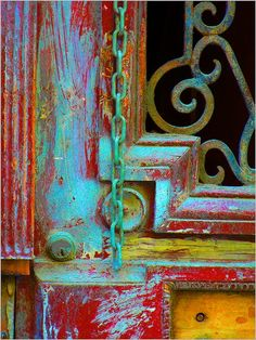 A door that is complex, of contrasts, locks, chains, wear and aging ~ just as we are ~ Debx