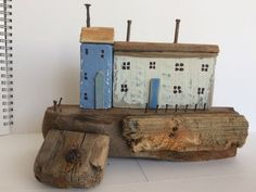 Driftwood Cottages, Driftwood Houses, Coastal Seaside Beach Ornament, White Blue Natural Wood, Nautical, Shabby Chic Unique Gift Driftwood Sculpture, Driftwood Art, Cute Little Houses, Beach Ornaments, Seaside Beach, Chabby Chic, Dioramas, Natural Wood, Creme