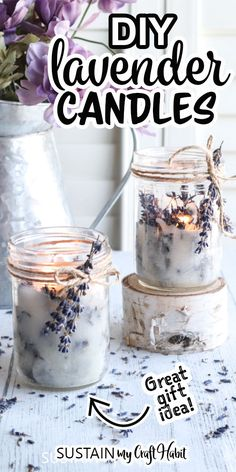 With the gentle scent of lavender and rustic twine accents, these simple DIY mason jar candles make pretty farmhouse style decor and handmade gift ideas. Pot Mason Diy, Mason Jar Crafts, Pickle Jar Crafts, Mason Jar Projects, Mason Jar Candles, Scented Candles, Lavender Candles, Rustic Mason Jars, Beeswax Candles