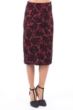 Floral Pattern Midi Skirt