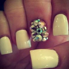 I like this color yellow....but would never bedazzle my nails!!