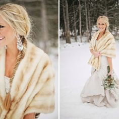 Winter wedding fur coat
