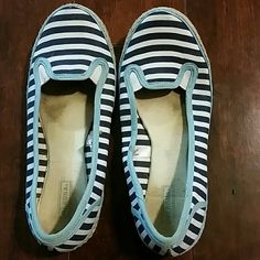 Sailor style flats Ballet meets sailor, navy and white stripped flats, blue edging and rope/twine on bottom edge. These were previously worn so there are stains on the soles as a result! I'm assuming they can be washed but I've never tried. Otherwise they're in excellent condition. Merona Shoes Flats & Loafers