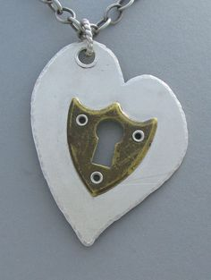 Sterling Keyhole Heart Pendant with Vintage Escucheon  $485.00