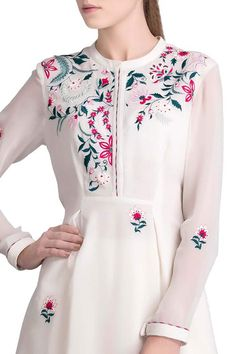 Shop AMPM Embroidered Asymmetric Shirt , Exclusive Indian Designer Latest Collections Available at Aza Fashions Embroidery Neck Designs, Embroidery Suits Design, Embroidery Fashion, Embroidery Dress, Indian Embroidery, Kurti Designs Party Wear, Kurta Designs, Latest Outfits, Fashion Outfits