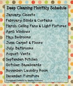 Two Things in Common: Deep Cleaning Monthly Schedule