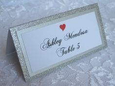 Our escort card inspiration that we DIYed. Silver Glitter Tented Place Cards, Escort cards, Name Cards Colored Heart Icon for Meal Choice - #008