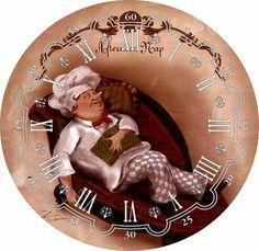 В Papel Vintage, Decoupage Vintage, Vintage Crafts, Vintage Paper, Chef Pictures, Kitchen Pictures, Popsicle Stick Crafts, Craft Stick Crafts, Clock Face Printable
