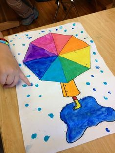 or ColorWheel umbrella art Need to make adjustments to make it a colour wheel.BIG art in a tiny room! Weather Activities For Kids, Art Activities, Color Wheel Projects, Art Projects, Color Wheel Art, Weather Art, 2nd Grade Art, Umbrella Art, Ecole Art