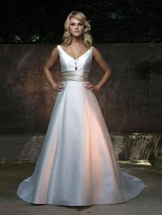 A-line V-neck Satin Court Train Beading Wedding Dresses Shop uk