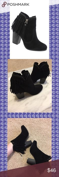 """Black suede fringe booties with zipper detail Brand new and so hot on trend for Fall!!  Black suede fringe booties with zipper detailing around top and down the side. (See pics for details).   These are on trend and will sell quick! Run true to size but if wearing with thick socks size up!   2.25"""" inside heel and 3.25"""" outside heel.   Boots come brand new in the box. Man made suede that is more durable and easier to keep clean.   Price is firm unless bundled. Comes from a smoke free home…"""