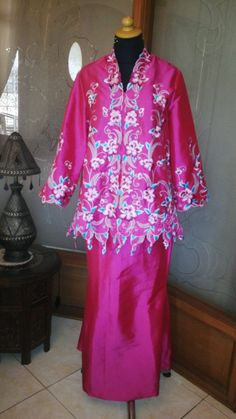 2pcs tafeta dress with flowers broidery