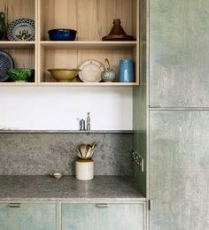 Sheffield kitchen refurbishment by From Works green kitchen marble design interior Timber Kitchen, Wood Kitchen Island, Warm Kitchen, Green Kitchen, Concrete Kitchen, Plywood Walls, Timber Walls, Plywood Interior, Green Plywood