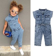 Toddler Kids Baby Girl Bowknot Flower Stripe Lace Romper Jumpsuit Outfit Clothes