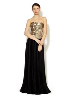 Jeweled Accordion Skirt Silk Strapless Gown by Marchesa Couture at Gilt