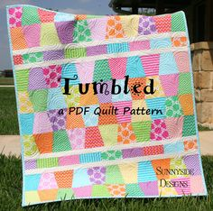 PDF Quilt Pattern, Tumbled, Charm Pack, Baby and Throw Size Tumbler on Etsy, $9.00
