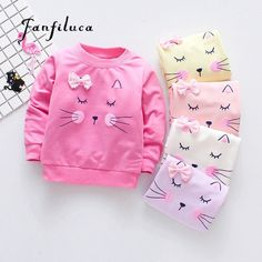 Cartoon Long Sleeve Baby Girls T-Shirt Baby Girl Fashion, Toddler Fashion, Toddler Outfits, Kids Outfits, Kids Fashion, Newborn Fashion, Cat Sweaters, Cute Blouses, Baby Boutique