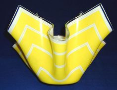 Chance Glass large yellow handkerchief vase (Bandel-1 pattern), c.1960s (SOLD) - www.vanishederas.com