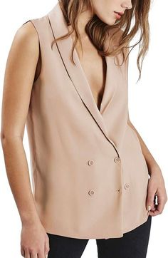 Topshop Sleeveless Double Breasted Slouch Jacket - $90.00