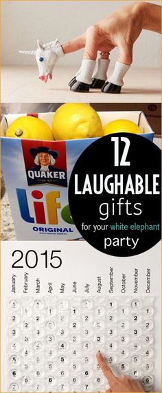 Laughable Gifts. The funniest gifts you'll ever gift. Take the best gag gift to your white elephant party with these fun ideas. Homemade and store bought ideas that will make everyone and anyone laugh. Be the life of the party!