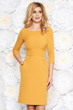 f8adf4337246 StarShinerS mustard office midi pencil dress slightly elastic fabric with  pockets, with pockets, tented cut, sleeves, back zipper fastening
