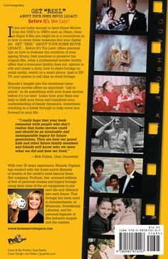 """Back cover of GET """"REEL"""" ABOUT YOUR HOME MOVIE  LEGACY...before it's too late!  Photos created directly off the original 16mm and Super 8 film!"""