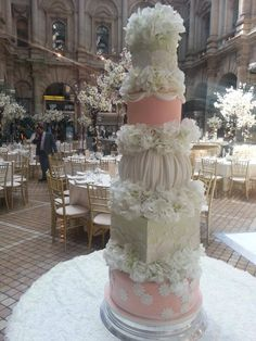 One of our recent wedding cakes. A five tier mint green and peach wedding cake at The Royal Exchange.